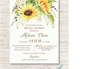 Sunflower  Bridal SHOWER INVITATION Wedding Shower Invitation Printed or Digital/Printable File