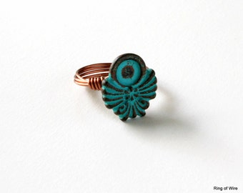 Blue Button Ring, Ankh Button Ring, Blue Patina Ring, Button Jewelry, Wire Wrapped Ring, Rustic Ring, Winged Ankh Ring, Copper Wire Ring