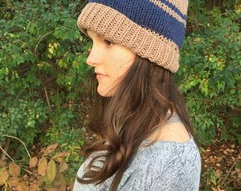 Knitted Striped Beanie Hat   Navy & Brown   Vegan Yarn