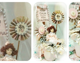 Victorian Altered Terra Cotta Pot,Keep Calm, Doll, Table Home Decor, Peach and Gray, Paper Flowers, Jewelry Destash