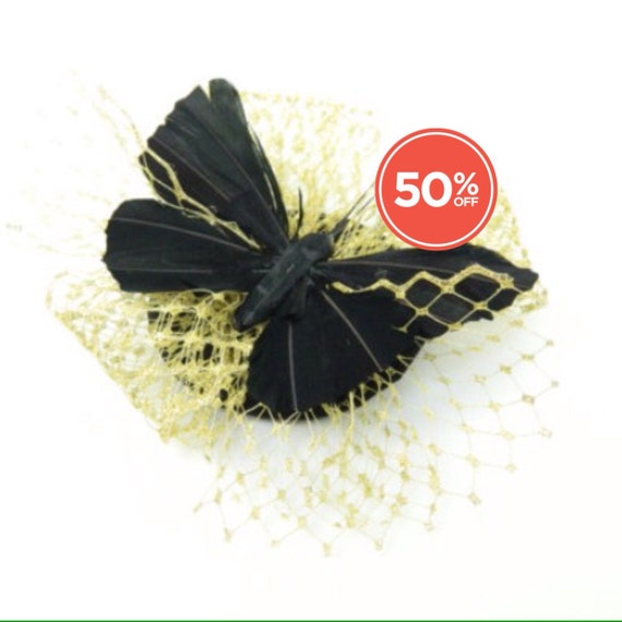sale black feathered butterfly with gold veil fascinator headpiece