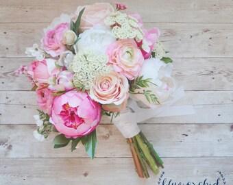 Pink Peony Bouquet, Pink Wedding Bouquet, Peony Bouquet, Wedding Bouquet, Boho Bouquet, Silk Flowers, Silk Wedding Bouquet, Wedding Bouquet