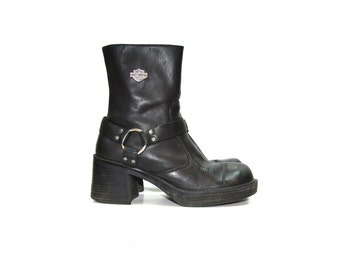 Vintage Harley Davidson Boots Motorcycle Boots Black Harness Boots Women's Harley Davidson Boots Women's Harness Boots