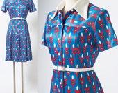 Mod Dress, Mod 60s Dress, Mad Men Dress, Vintage Blue Dress, 60s Nautical Dress, Vintage shirt dress, Blue Red Dress, 60s Knit Dress - M/L