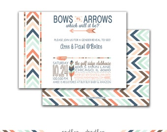 Gender Reveal Invitation, Tribal Invitation, Bows or Arrows, Boho Invitation, Tribal Gender Reveal, Baby Shower, Printable  File or Printed