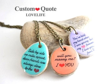 Custom Message Necklace, Love Necklace Heart Necklace with Your Words, Personalized Jewelry Gift for Her - Unique Quote Jewelry