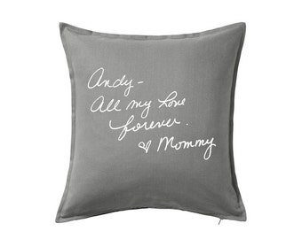Personalized Pillow Cover with Writing, Remembrance Pillow Cover, Keepsake Personalized Handwriting Pillow Cover