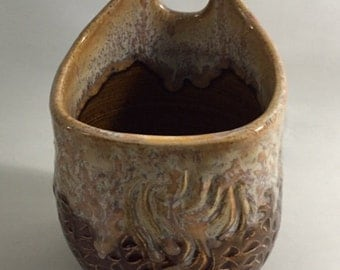 Beautiful Textured, Hanging Jar or Vase in Rich Earth Tones