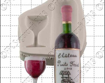 Wine silicone mould (mold) - 'Wine Bottle & Glass' by FPC Sugarcraft | resin mold, fimo mold, polymer clay mold, soapmaking mold C158