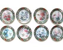 Vintage Hummingbird Plates, Complete Set of 8 Lena Liu Fine Porcelain Collectors Plates, Hummingbird Art Decor, Decorative Plate Collection