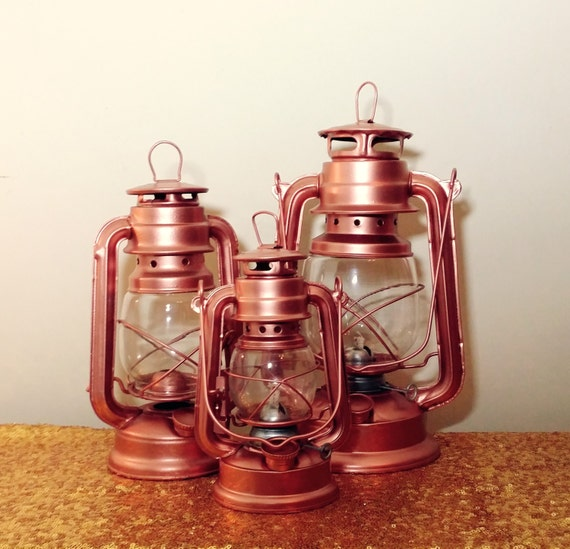 Rose gold lantern rustic railroad oil lamp by recycledrevival