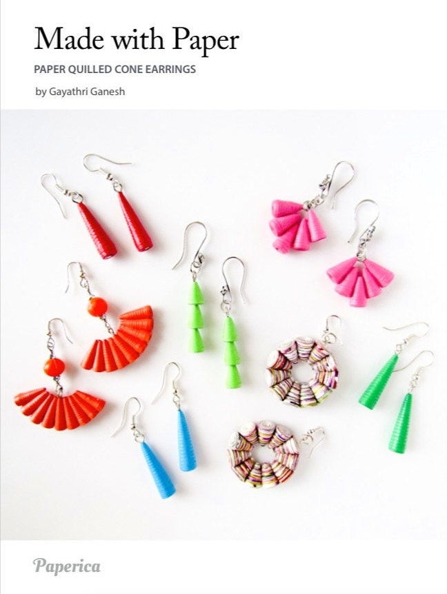 Diy paper quilled jewelry tutorial paper quilled cone bead for How to make your own quilling paper