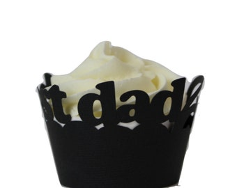 Black Best Dad Cupcake Wrappers, Set of 12, Father's Day, Black Texture, Cupcake Decor, Handcrafted Party Decor, Party Supplies