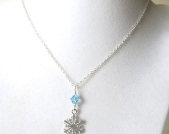 Snowflake Sterling Silver Crystal Winter Snow Necklace YOU Choose Crystal Color