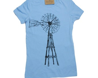 Womens T Shirt - Windmill TShirt- Screen Print - Short Sleeve - Farm T-shirt - Graphic Tees - Green Energy Tshirt - Ladies Tee S M L XL