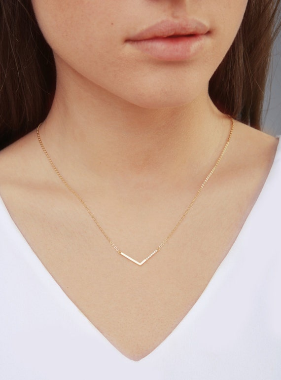 V Shaped Necklace V Necklace Chevron Necklace Gold By