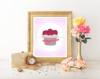 Pink Cupcake Digital Download, Cupcake Printable, Cupcake Digital, Cupcake Print, Cupcake Art, Cupcake Decor, Cupcake Download Print 0054