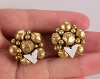 Gold Beads Vintage Clip On Earrings Signed Japan