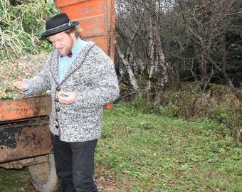 Hand made cardigan for men Icelandic lopapeysa. Nordic knitwear. Wool sweater. Icelandic designer. Nordic designer
