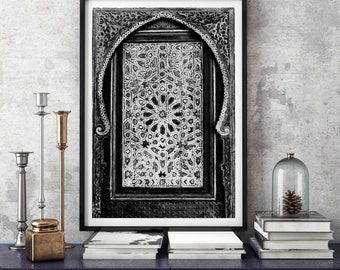 Photography + Black Frame - Moroccan Door - Marrakech - Morocco - Black and White