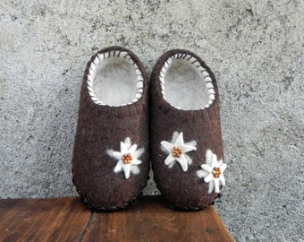 Ready to ship Brown edelweiss felted slippers natural wool suede soles 38/39 EU LARGE