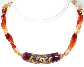 BN050- Triple-strand graduated color Mexican Opal, Lampwork Glass, and Gold necklace