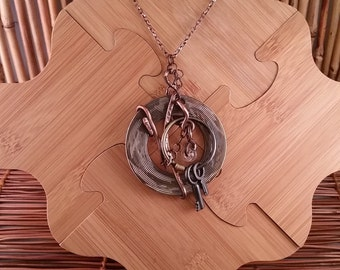 Handmade Copper Pendant, Wire Wrapped Steampunk Statement Piece Necklace, Hammered Copper Jewelry