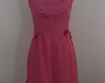 Vintage 1960s salmon PINK boatneck satin xs dress