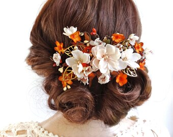 fall hair clips, bridal hair comb, burnt orange hair flower, ivory hair clip, fall wedding hair piece, orange gold, rustic floral bridal