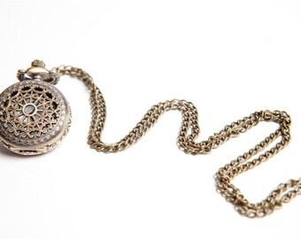 Bronze watch, pocket watch, watch necklace, clock necklace, pendant necklace, alice in wonderland, pendant, charm necklace, lace necklace