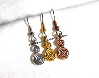 Spiral Style Charm Earrings with Surgical Steel French Hooks   Choose Your Finish