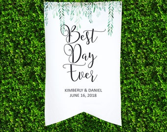 Wedding Sign Backdrop for Ceremony or Reception Decor, Personalized Name Hanging Canvas Banner Welcome Sign Wedding Best Day Ever (LBN700)