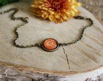 Swadhisthana Chakra Bracelet, Antique Bronze Bracelet, Glass Cabochon, Chain Bracelet