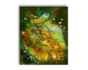Wedding gift, Phoenix feather, fantasy painting, Fantasy art, giclee print on canvas, gold fire feather, everlasting love, green, Firebird