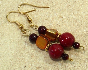 Red and Gold Dangle Earrings: Women's Drop Earrings with Natural Shell and Quartzite Beads, Nickle-Free Gold Earwires, Handmade in the USA