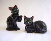 Vintage Shafford Black Cat Salt and Pepper, Kitsch Kitty, Halloween, Collectible, Shafford Redware,