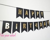Black Happy Birthday Banner with Gold Letters | Gold Birthday Banner | Custom Banner | Black and Gold Birthday Banner | The Paper Bow Shop