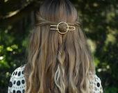 "Hammered circle hair accessory brass hair clip minimalist silver hair barrette rustic copper hair slide half updo 4"" gold textured hair fork"