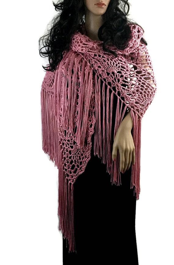 Outlander Claire Fringe Shawl Paris Pink Rosebuds - Crocheted Fraser Diana Gabaldon FREE SHIPPING