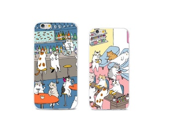 FUNNY CAT iphone case drinking cat iphone case manicure cat iphone case CAT iPhone 7 case iphone 6 plus case funny iphone 6s plus case