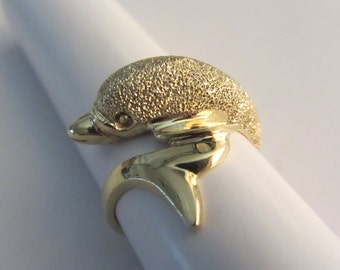 14k Gold Dolphin Sz 7 Ring 5.63g Gorgeous !