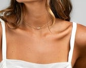 Dainty PEARL Choker Necklace,  Simple Gold Choker Necklace in Sterling Silver, Rose Gold Filled, Gold Filled, Bridesmaid Necklace [4mm B6]