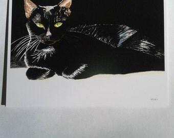 Greeting cards~  Black Cat~ original watercolor made into printed notecards