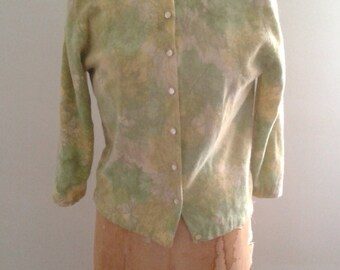 Vintage 1950's Minklam by Darlene Lime Green Yellow Leaf Print Lambswool Fur Fiber Cardigan Sweater Sz Med Ladylike Mad Men