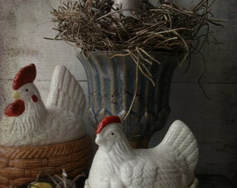 Vintage Nesting Hen. French Country Decor. Rustic Farmhouse. SPring Ceramic hen Basket.  Easter Candy Dish