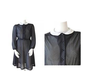 1980s Dress Volup • 80s Polka Dot Dolly Dress Plus Size • XL