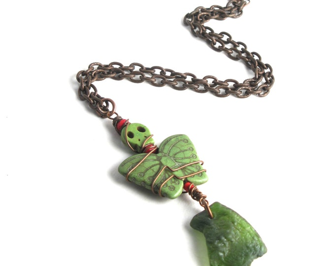 Rhode Island Olive Green Bonfire Sea Glass with a Stone Deaths Head Moth Wrapped with Copper Wire on an Antiqued Copper Chain Necklace