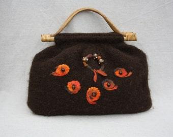 Felted bag Brown handbag Wool felt bag Brown womens bag Top handles Brown wool handbag Daily bag Bamboo handles Vintage handmade Floral bag