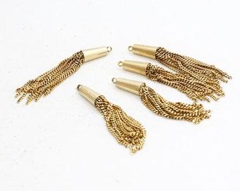 3 Pcs 60mm Chain Tassels , Raw Brass Tassel Pendant, Tassel Pendant, TSL78