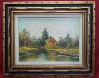 Old vintage artist signed original art oil painting lake house nature landscape